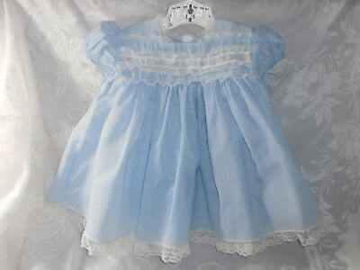 VINTAGE 1950s BABY BLUE DRESS C.I. CASTRO & CO. EMBROIDERED FLOWERS LACE SZ 18M?