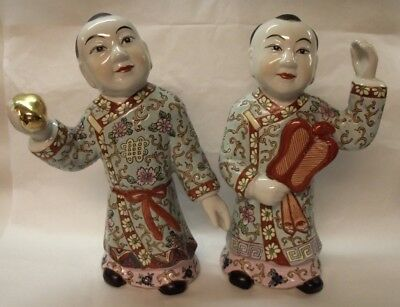 "Stunning Rare Pair Of Large Vintage Chinese Boys Figures 11"" T"