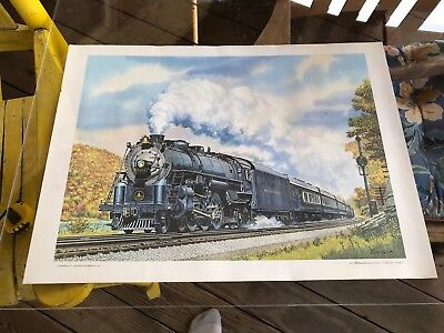 The Ambassador Locomotive Engine Print, 1971, 22 X 16, Train, Howard Fogg