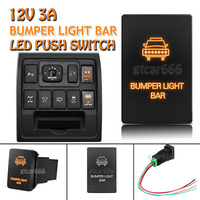 12V Orange LED Push Switch Bumper Light Bar for Toyota Highlander Sequoia Tundra