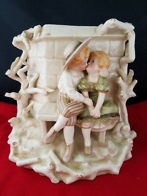 "Bisque Figural Planter Vase Kissing Couple on the bench 7.5x6x6.5""h"