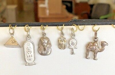VINTAGE EGYPTIAN Silver Ankh Camel Scarab Pyramid King Tut Cartouch Silvr charms