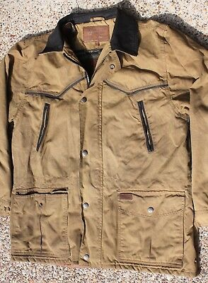 """Outback Trading Coat Barbour Waxed Canvas Medium 23"""" Chest Jacket Western Cowboy"""