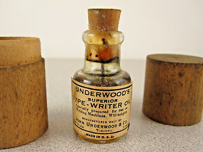 Antique FULL Bottle - Underwood's Typewriter Oil w/RaRe Wood Packing Case/Box EX