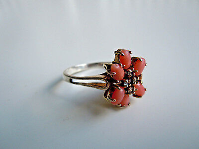 imperial RUSSIAN 84 Silver RING with red Coral and Crystals, Faberge design 1917