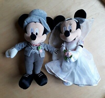 Disney Store Mickey Minnie Mouse Bride & Groom Wedding Soft Plush Dolls 17inches