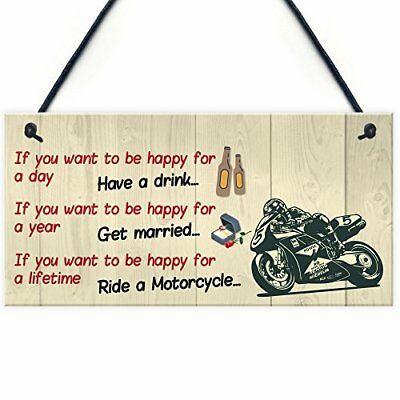 Red Ocean Happy Life Motorcycle Funny Motorbike Man Cave Hanging Plaque ...