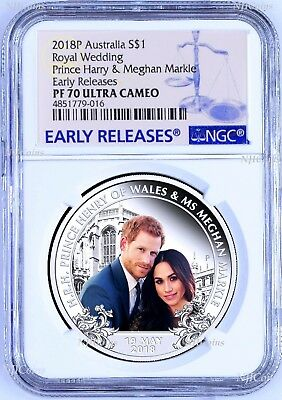 2018 Royal Wedding Prince Henry Ms. Meghan 1oz $1 SILVER PROOF COIN NGC PF70