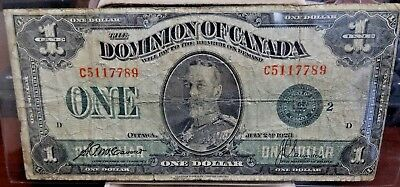 Large July 2nd, 1923 The Dominion of Canada $1 Dollar. Green Seal