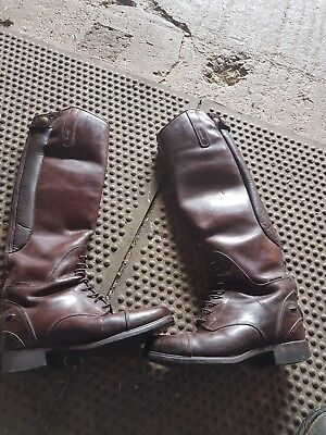 ariat size 4 waxed chocolate long riding boots
