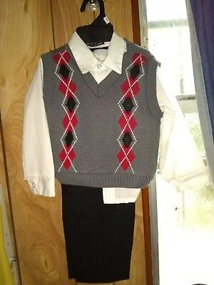 3pc toddler suit black white grey and red
