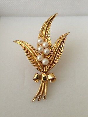 Quality 9ct Yellow Gold Brooch set with Pearls Beautiful Quality 9 Carat 4.5cm