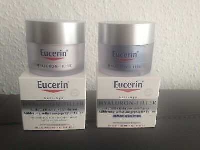EUCERIN SET Anti-Age HYALURON-FILLER Tag&Nacht je50ml !! NEU in OVP !!