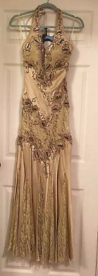 Cache Gold Sequined Beaded Tulle Prom Dress Silky Gold Size 2