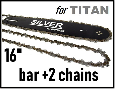 """PARTNER 16"""" 40cm 3/8 1.3mm 330 335 345 340 350 Guide Bar 2 Chains  Chainsaw"""