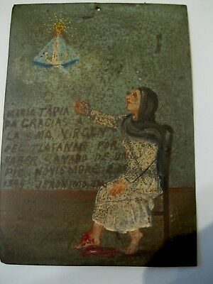 1944 Exvoto On Tin ,woman  Thanking Our Lady Del Platanar For Healing Of A Foot
