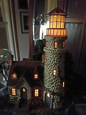 THOMAS KINKADE HAWTHORNE SEASIDE  VILLAGE GUIDING POINT LIGHTHOUSE. Retired 2000