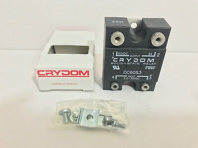 New! Crydom Solid State Relay Dc60S3 Input: 3.5-32 Vdc Output: 60 Vdc 3A