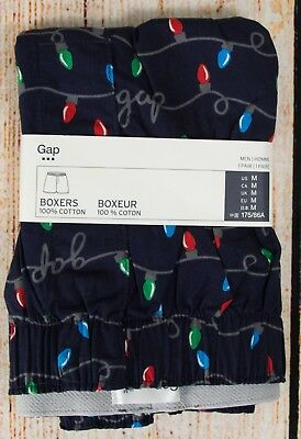NIP Mens GAP Boxers 100% Cotton Logo Christmas Holiday Lights - 452538