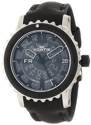 Fortis Men's 675.10.81 L.01 B-47 Big Black Automatic Black Leather Date Watch