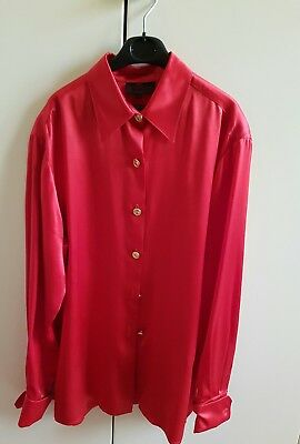 Etro Camicia Donna Rossa 100% Seta Shirt Blouse Chemise Made In Italy Vintage