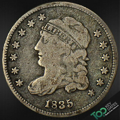 1835  H10¢ Small Date, Large 5¢ Capped Bust Half Dime ~ Vg Very Good ~ #4284Ju1