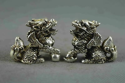 Collectable Handwork Decor old Miao Silver Carve Roar Kylin Wealthy Pair Statue