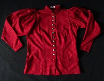 New German Bavarian Red Trachten Blouse 6