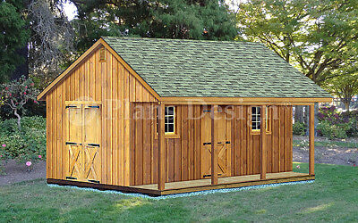 20' X 20' Shed with Covered Porch, Cottage /  Cabin Building Plans # P52020