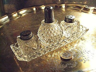 Vintage Crystal Mini TRAY, Salt, Vinegar & Pepper Set- STUNNING, INTRICATELY CUT