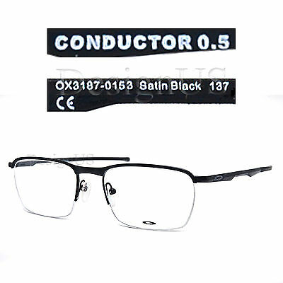 7a0175adcc52b OAKLEY CONDUCTOR 0.5 OX3187-0153 Satin Black Half-Rimless Eyeglasses Rx -  New -  117.80