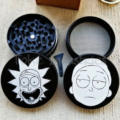 "Large Herb Grinder 2.5"" Rick And Morty Tobacco Grinder 63mm 4 Piece Grinder 420"