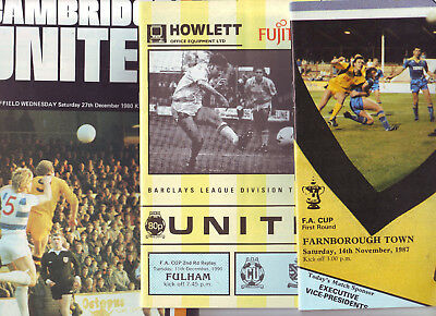 Cambridge Utd 3 Programmes 1980-90 Then A League Club. All Listed. Vgc