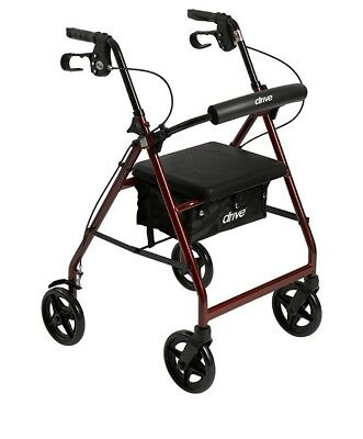 Drive Medical Aluminum Rollator Fold Up and Removable Back Support, Red