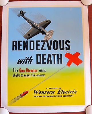 Rendezvous With Death - Original 1942 Wwii Lb Poster - Western Electric Rare!