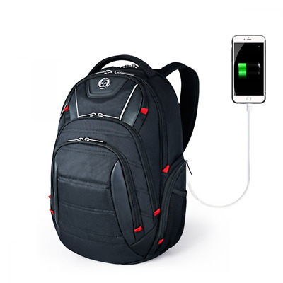 Laptop Backpack, Busniess Travel Polyester USB Charging Port&RFID Protection Fit