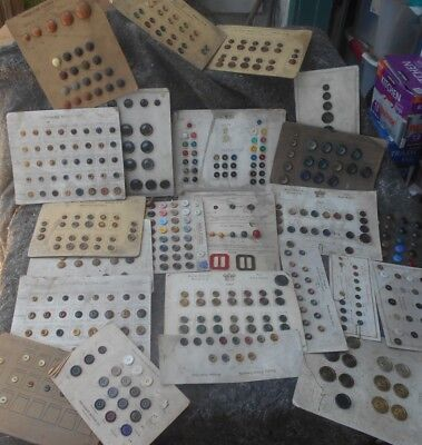 Vintage/Antique Lot of Sewing Button Salesmen Sample Cards 22 Cards Big Variety