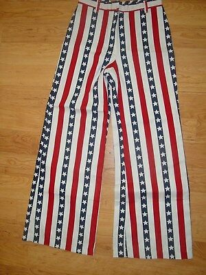 Vtg 1976 Frederick's of Hollywood American Flag Bell Bottom Pants USA Hippy