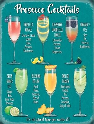 Prosecco Cocktails Wine Glass Drink Pub Tiki Bar Kitchen Novelty Metal Wall Sign