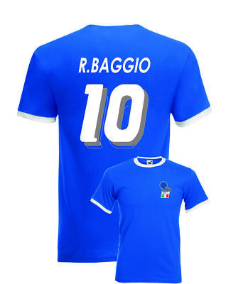 Roberto Baggio Italy No.10 USA 94 Mens Retro Football Ringer T-Shirt