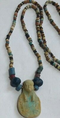 "USHABI, Egyptian Pharaoh's Necklace, Mummy Beads Terracotta 28""/A1"