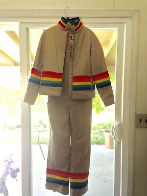 Vintage Womens Saska Skiwear Rainbow Overalls and Ski Jacket Set Small