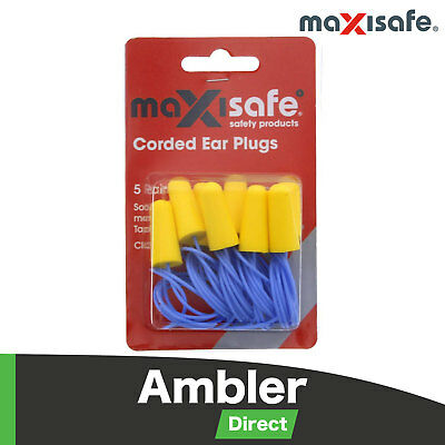 Maxisafe Corded Tapered Soft Foam Earplugs Blister 5 Pairs Class 5