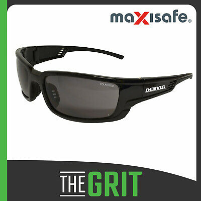 Maxisafe Denver Polarised Smoke Safety Glasses Specs Eye Protection Black Frame