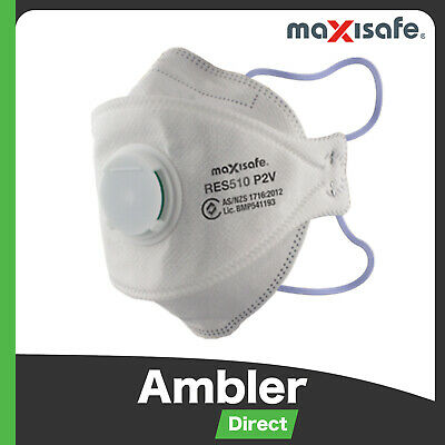 Maxisafe P2 Respirator Safety Valve Dust Face Mask Disposable 3 Pack