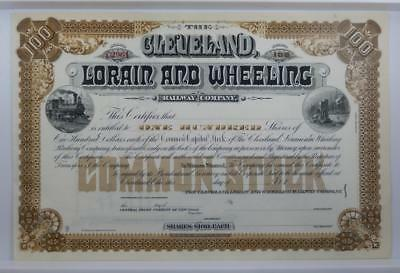 Antique Cleveland Lorain and Wheeling Railway Company Stock Certificate BG164