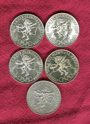 5 1968 Silver Mexico 25 Peso Olympic Coins #4