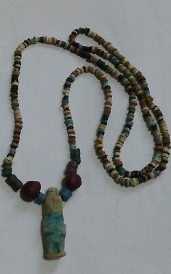 "BES God of Childbirth, Egyptian Pharaoh's Necklace, Mummy Beads, 28""/G1"