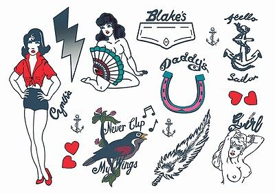 Amy Winehouse Premium Temporary Tattoos (A4 Pack) Amy Hens Tattoos Full Size