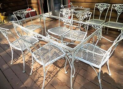 Antique LEE WOODARD & SONS ORLEANS Dining SET, 10 pc Heavy Wrought Iron Set